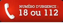 Numéro d'urgence : Composez le 112 ou le 18 sur votre téléphone fixe ou mobile